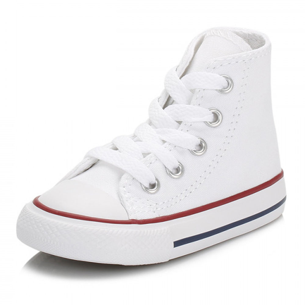 9968d1d1d7e91f Details about Converse Toddler White All Star Trainers Kids Hi Tops Canvas Shoes  Sneakers