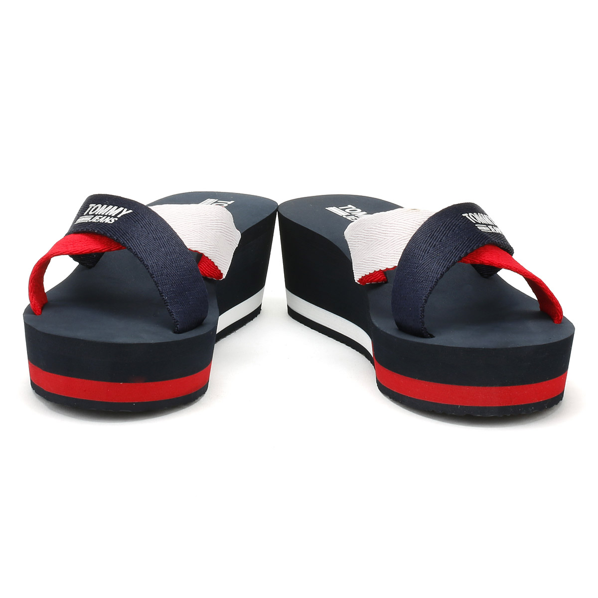 077aeeabd847b0 Details about Tommy Hilfiger Womens Slides Tommy Navy Blue Mid Wedge Summer  Beach Sandals