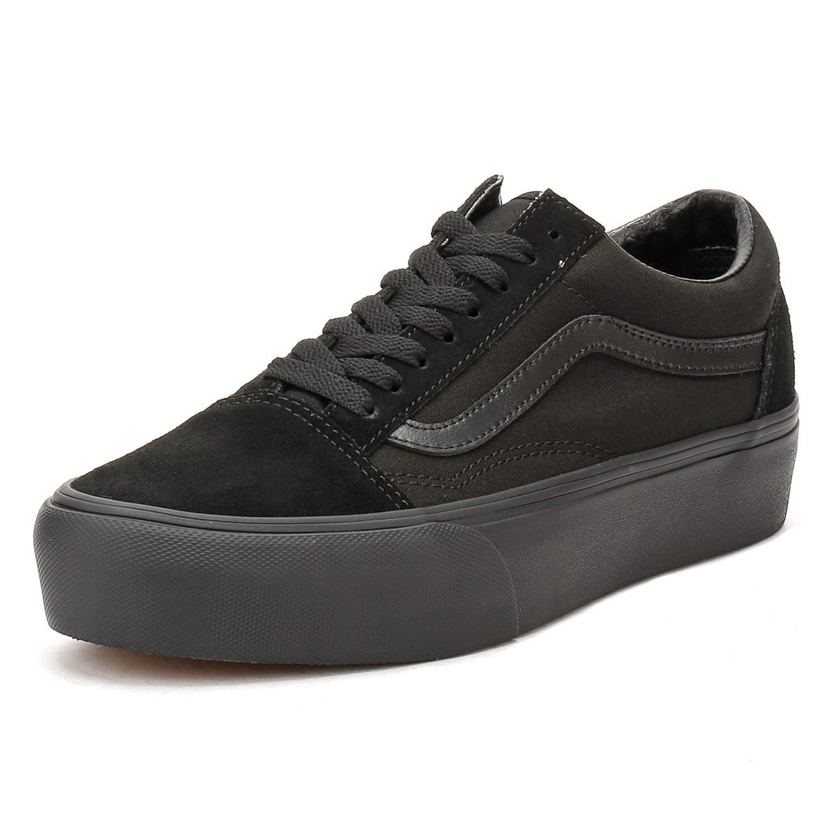 fd3d1ce07f4 Details about Vans Womens All Black Old Skool Platform Trainers