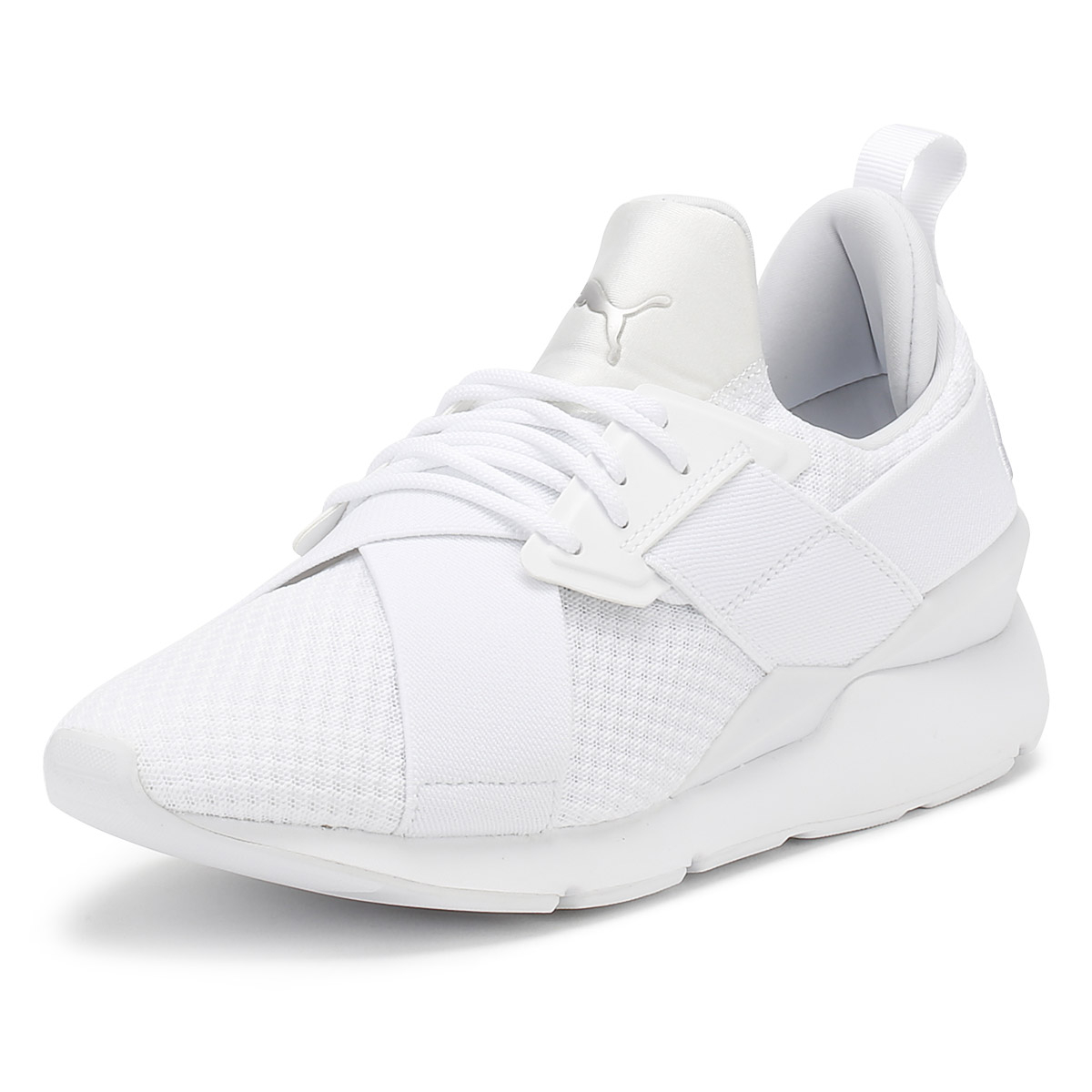 Details about PUMA Womens White Muse X-Strap EP Trainers Lace Up Sport  Casual Running Shoes a703e3223