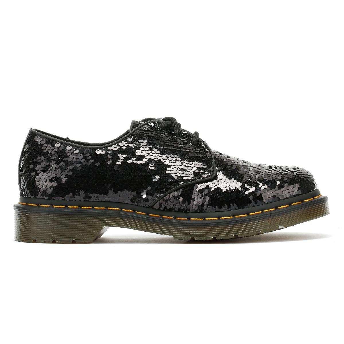 Casual Martens Dr Shoes Black Up Womens Silver Lace 1461 Ladies Paillettes ApSSxnwH