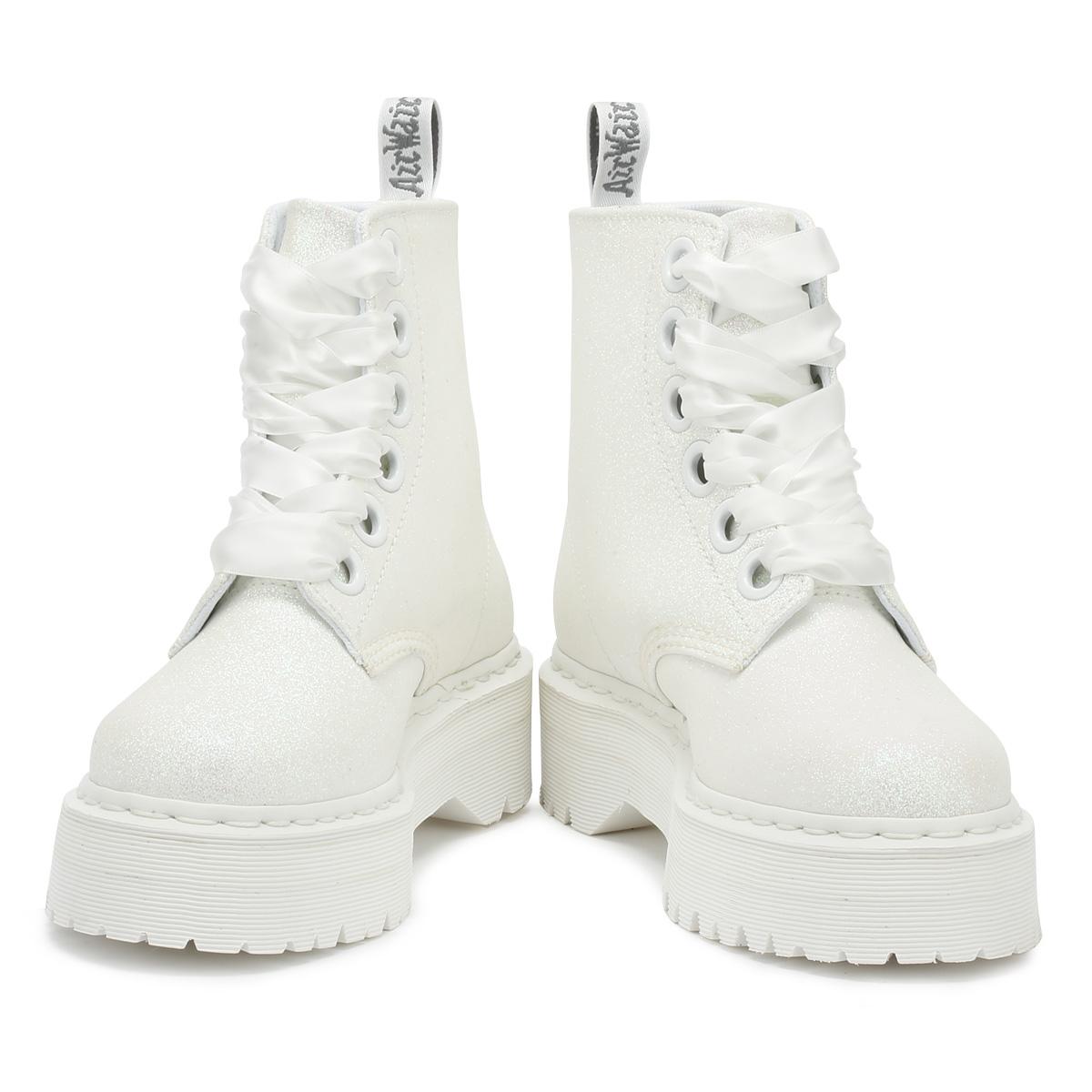 b94fcfcd884f Dr. Martens Molly Womens Boots Iridescent White Glitter Warm Winter ...