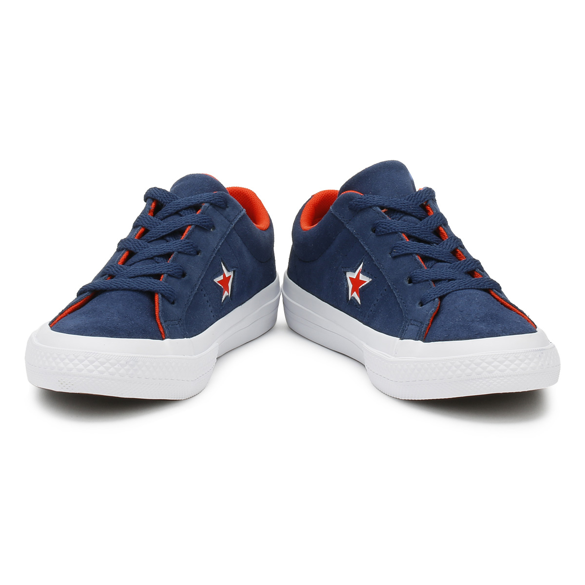 29459ebeddd6 Converse One Star Junior Ox Trainers Navy   White Canvas Lace Up Kids Shoes