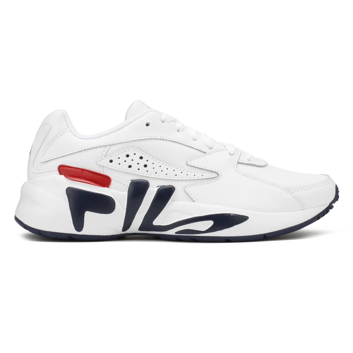 Fila Mens Trainers White & Navy & Red Mindblower Sport Casual Lace Up Shoes