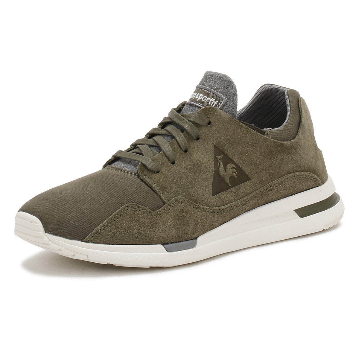 9e4f03da900f Details about Le Coq Sportif Mens Olive Night Green LCS R Pure Trainers  Suede Canvas Shoes