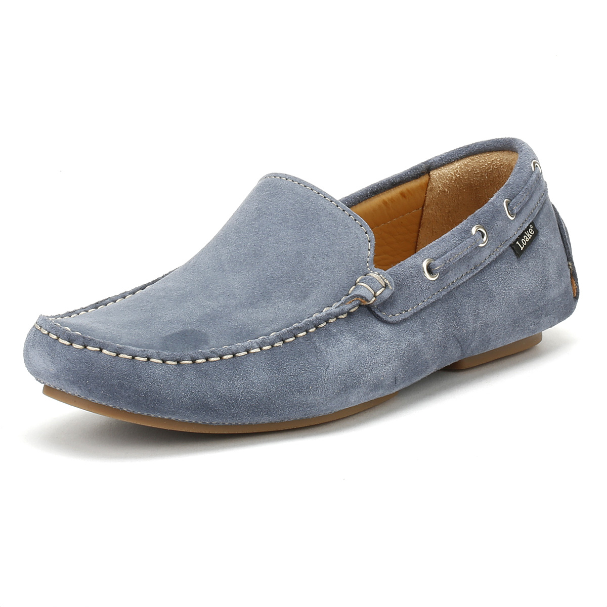 628879a0 Details about Loake Mens Loafers Light Blue Donington Suede Casual Boat  Moccasin Shoes