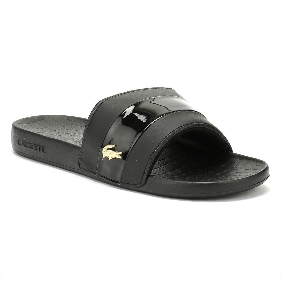 b3e1d82acfa5 Details about Lacoste Mens Black   Gold Fraisier 118 1 Slides Rubber Beach  Summer Shoes