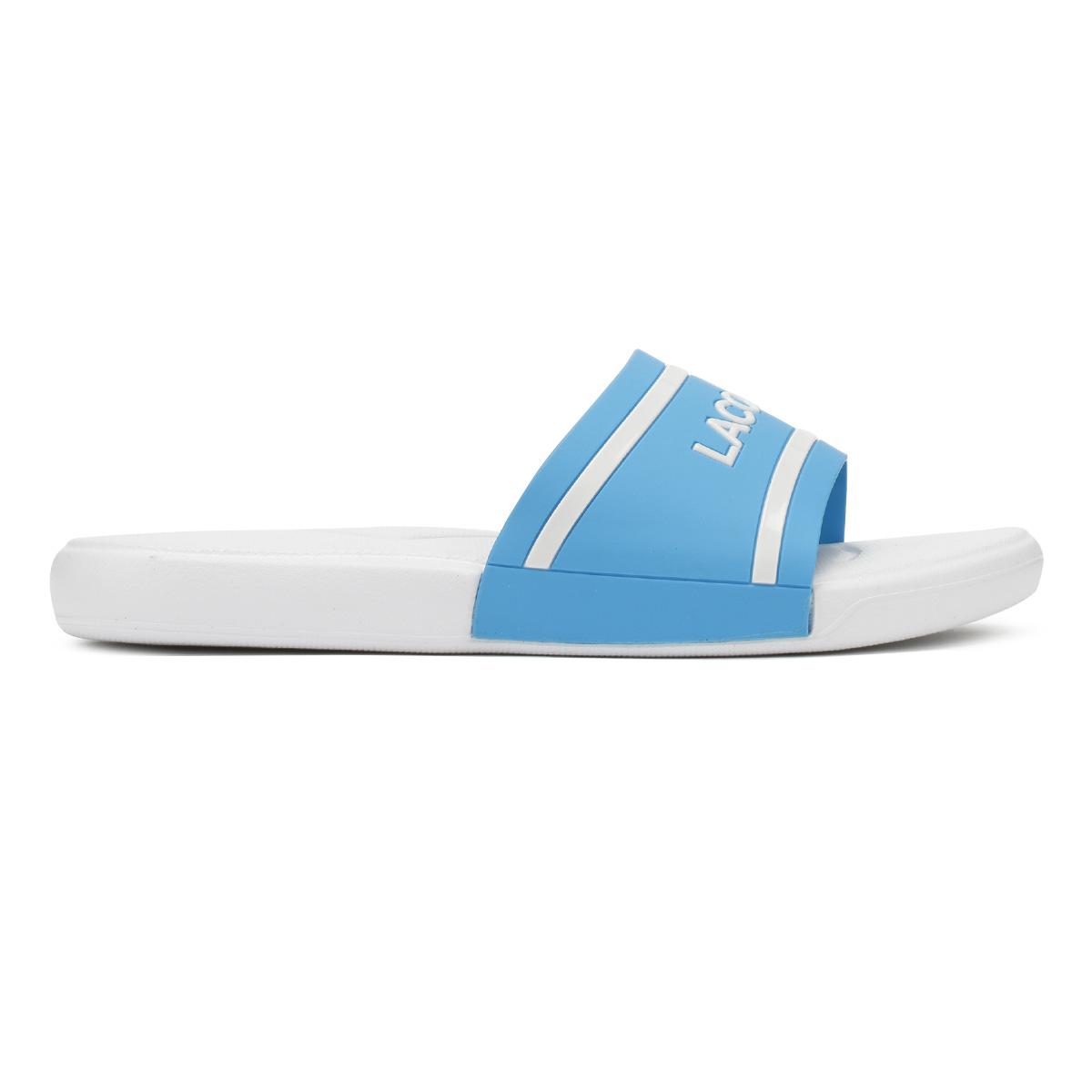 94a5defef Lacoste Junior Blue   White L.30 118 2 Slides Kids Casual Summer Beach Shoes