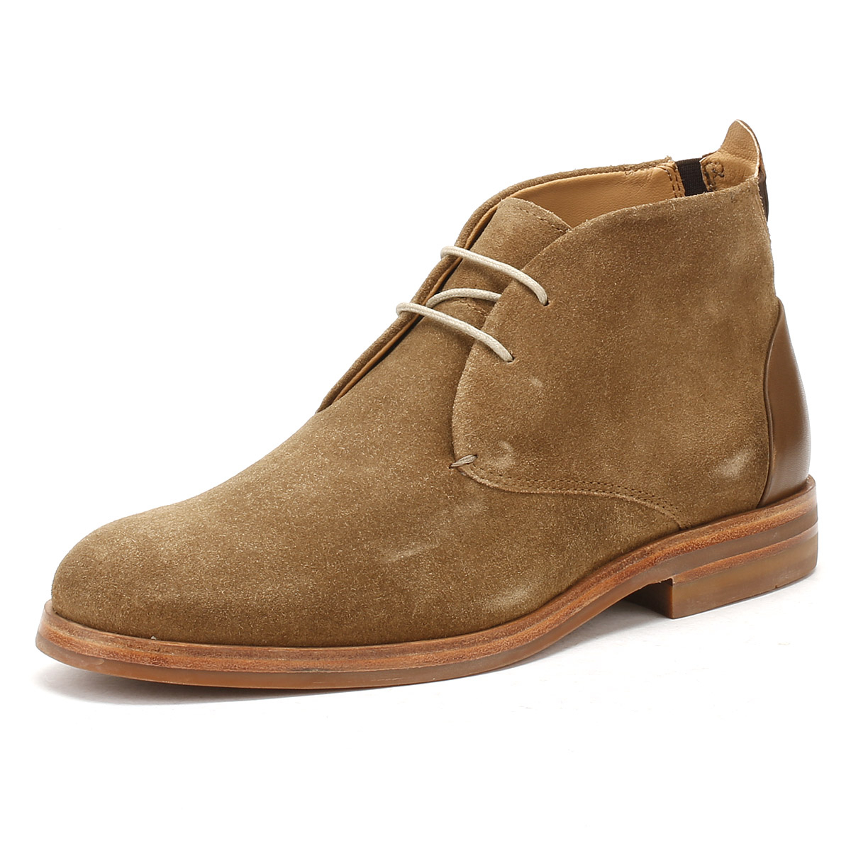 Hudson Mens Tobacco Brown Suede Matteo Desert Boots Lace Up Anlke Shoes