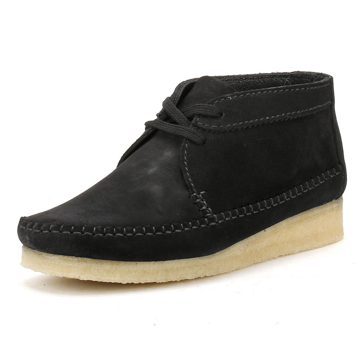 Clarks Womens Black Suede Weaver Boots