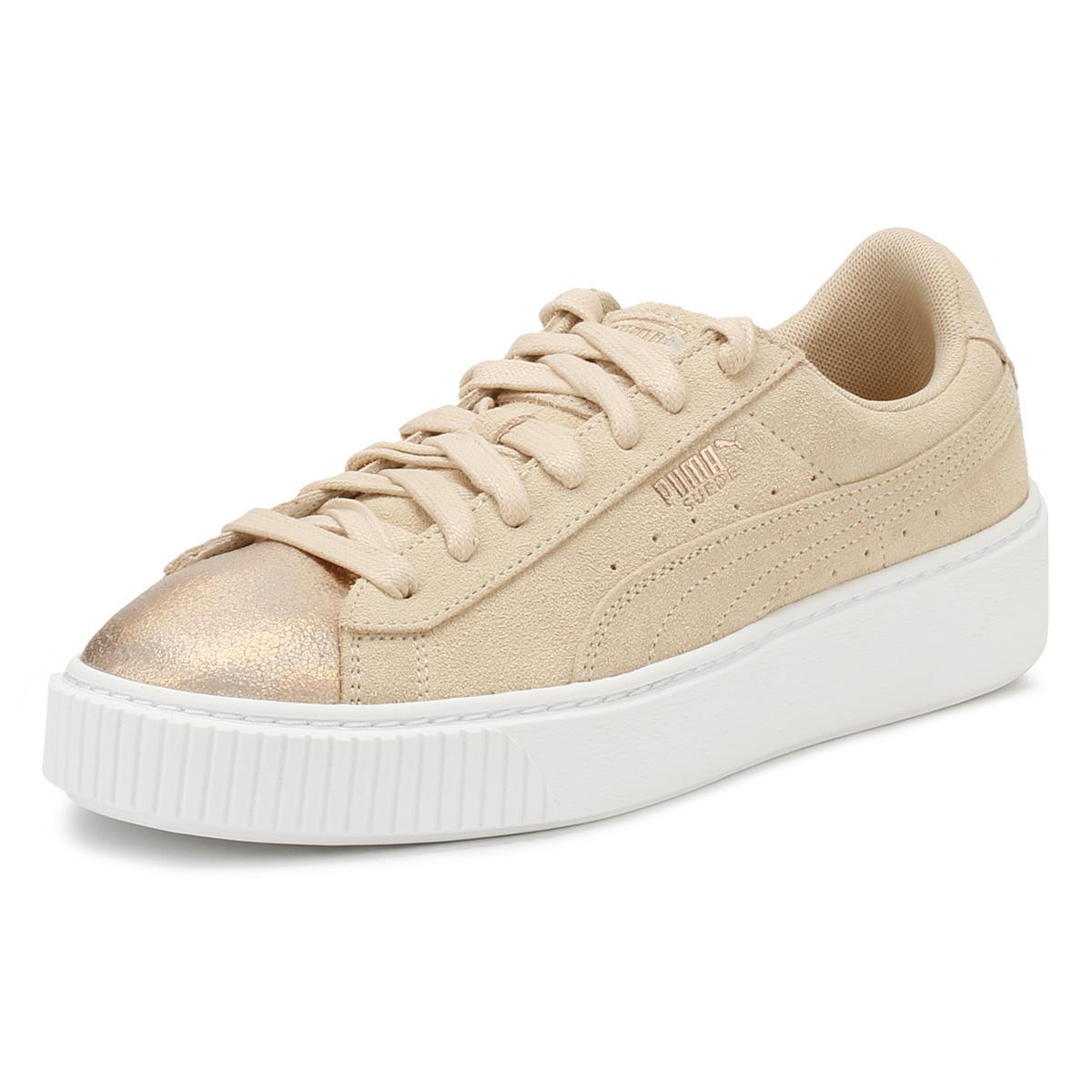 884093992eae9 PUMA Womens Trainers Cream Tan Platform Suede LunaLux Ladies Sport Casual  Shoes