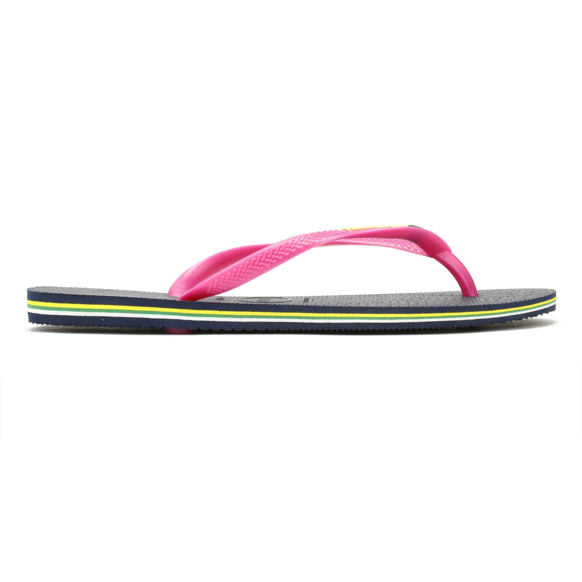 e32eec33c27893 Havaianas Slim Brasil Logo Womens Navy Pink Rubber Flip Flops - 35 ...