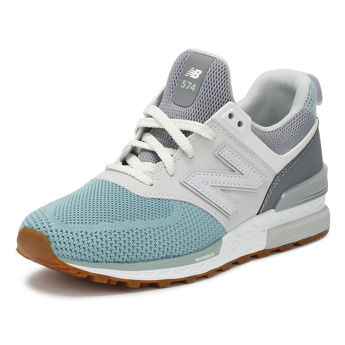 3cbddcd656 Details about New Balance Mens Trainers Grey   Blue 574 Sport Lace Up  Casual Running Shoes