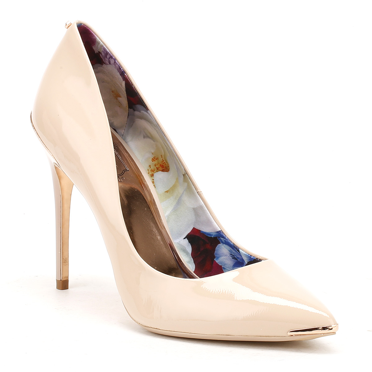 8aebad44863cc The Kaawa court shoes from Ted Baker come in a glossy soft patent leather  with a patterned floral print lining. Featuring a metallic toe tip and heel  cap ...