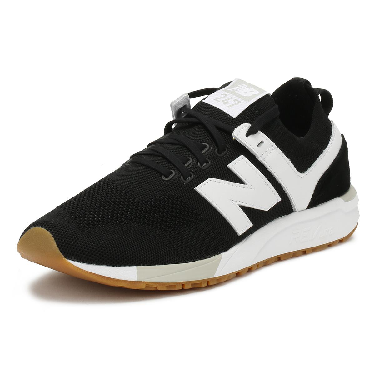 NEW Balance sneaker uomo BLACK WHITE 247 Lacci Sport Casual Scarpe Da Corsa