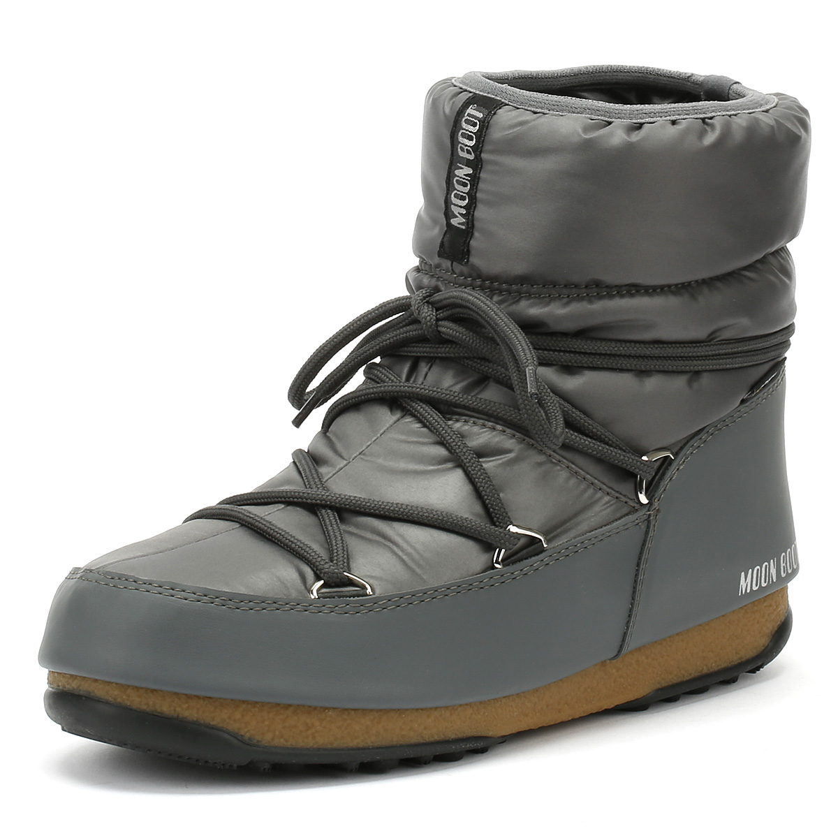 Moon Boot Low Pour Femme Bottes Gris Nylon Hiver Chaud Chaussures Femmes-afficher Le Titre D'origine