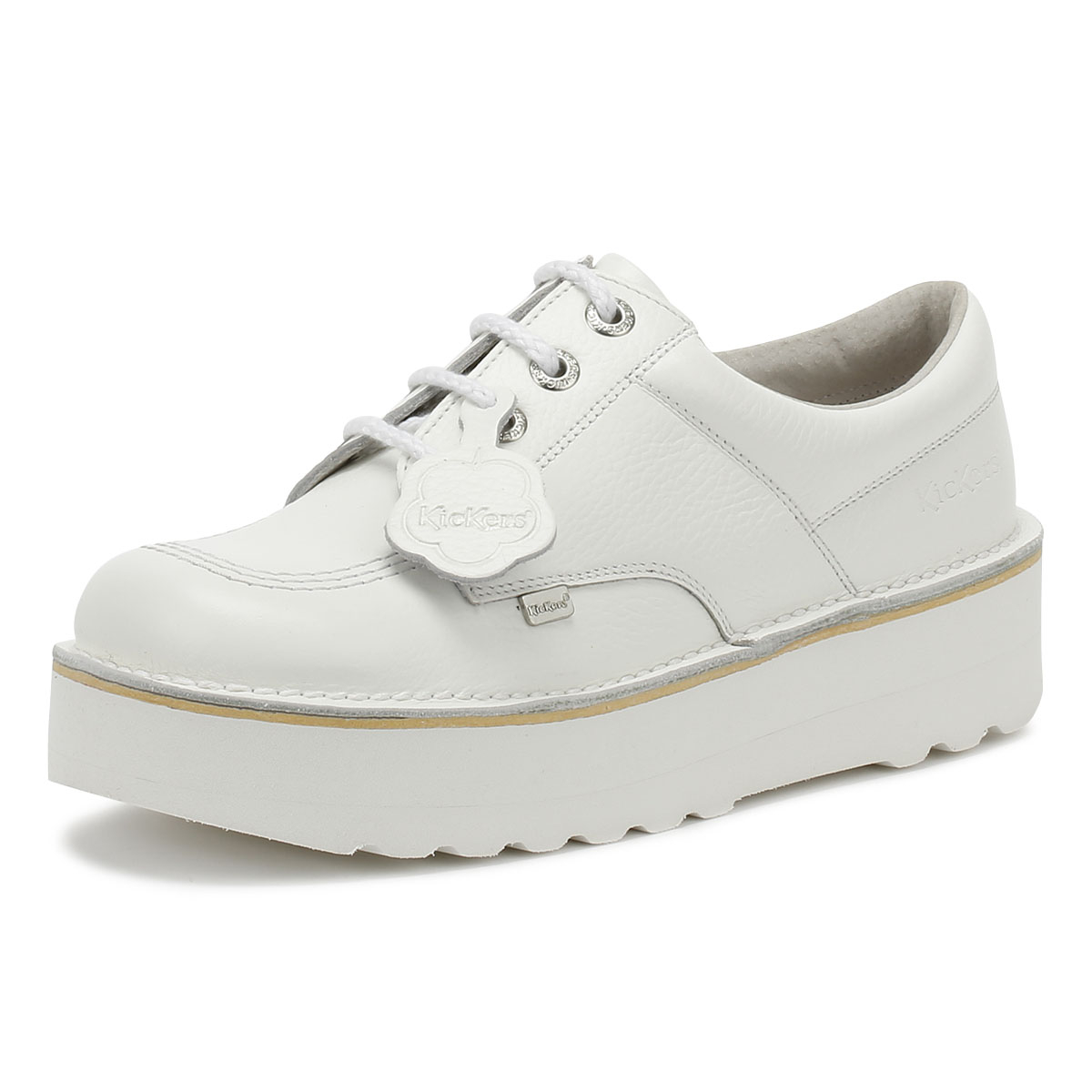 look out for new cheap fantastic savings Details about Kickers Kick Lo Womens White Leather Platform Shoes Ladies  Lace Up Casual