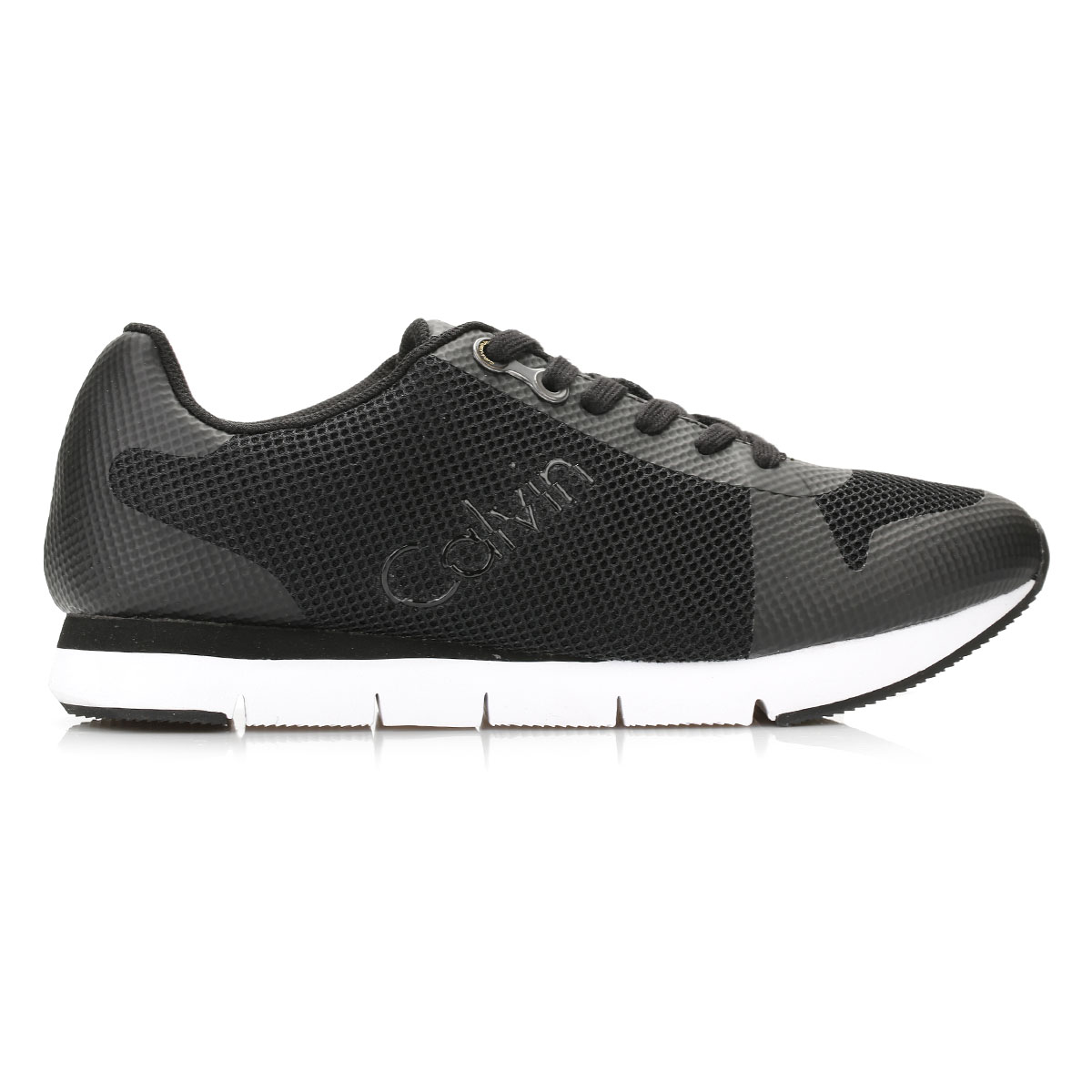 Calvin Lace Klein Jeans Mens Trainers schwarz Jaques Mesh Lace Calvin Up Sport Casual Schuhes 66c391