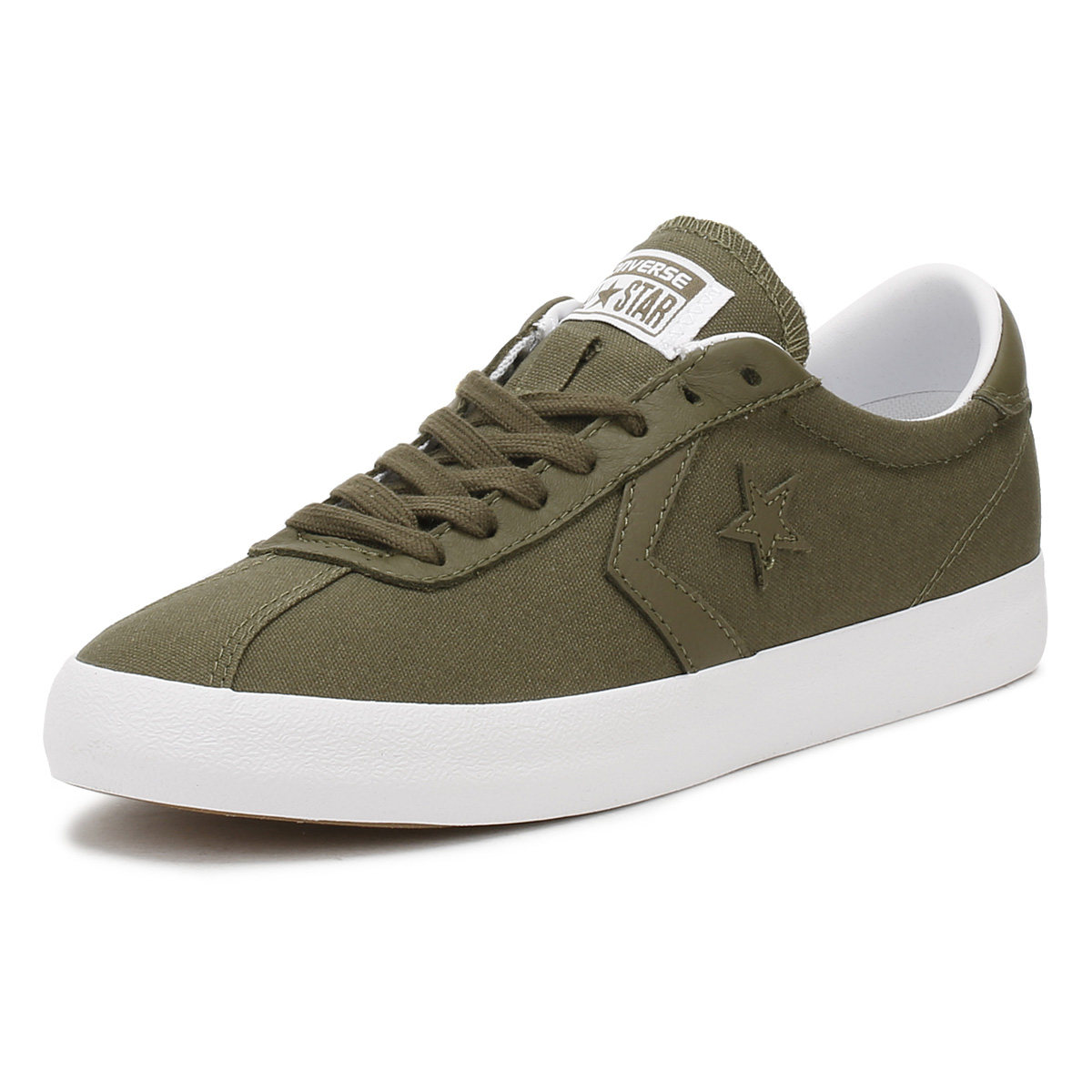 45a680400816 Details about Converse Mens Olive Green Breakpoint Ox Trainers Canvas Shoes  Lace Up Sneakers