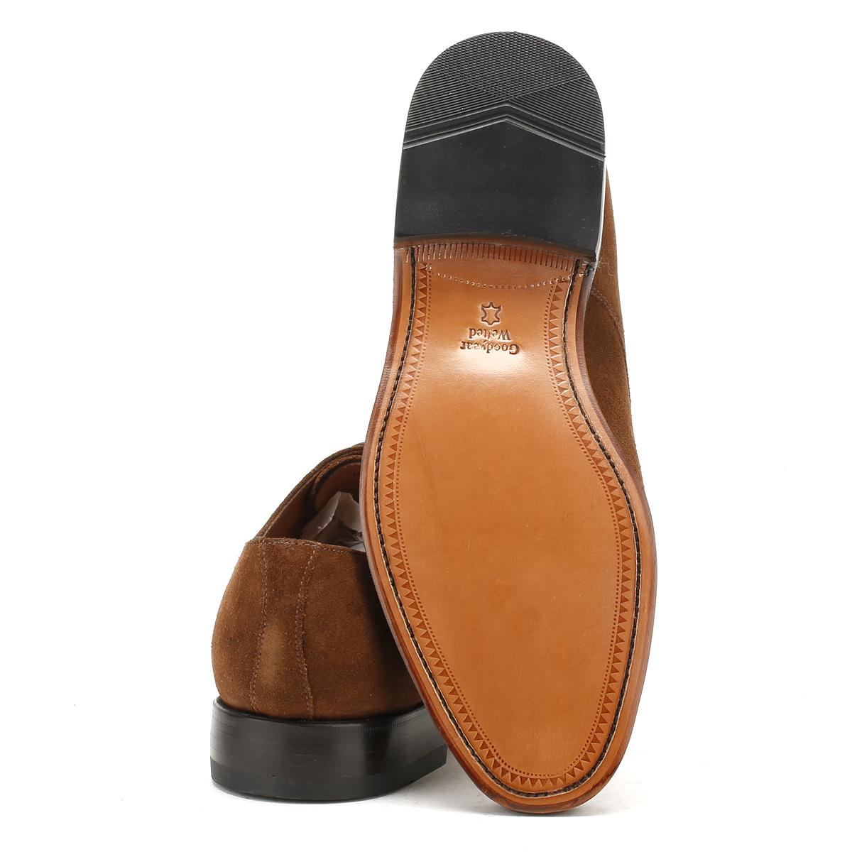 Mens Tan Suede Derby Shoes