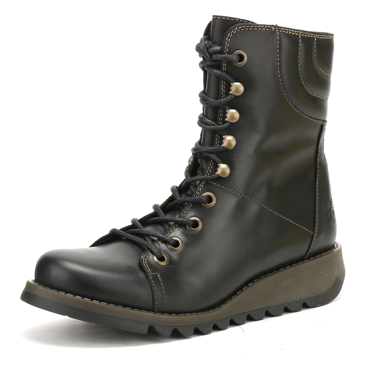 a581faf230537 Details about Fly London Womens Black Same109Fly Rug Biker Boots Mid Calf Lace  Up Casual Shoes