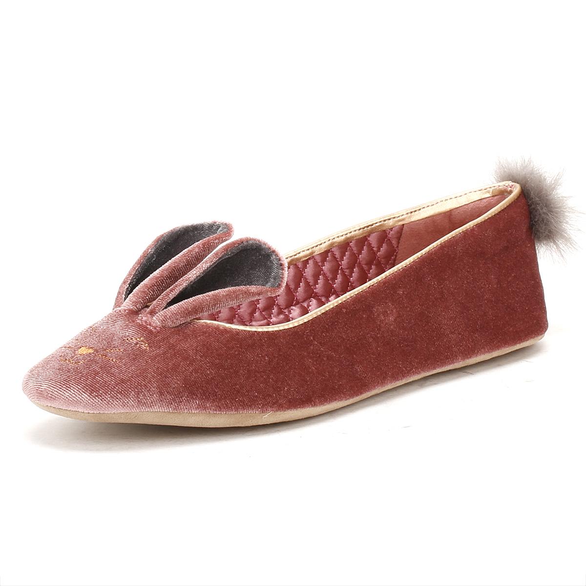 61025357b4031a Details about Ted Baker Womens Pink Bellamo Ballerina Slippers Rabbit Animal  Velvet Shoes