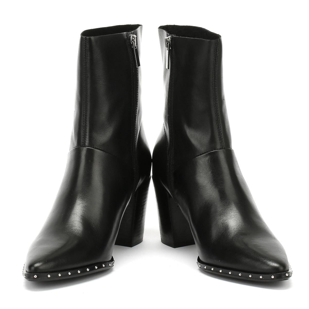 Støvler Heel Svart Shoes Leather Winter Mid Bronx Kvinner Americana Ladies awvqZAt