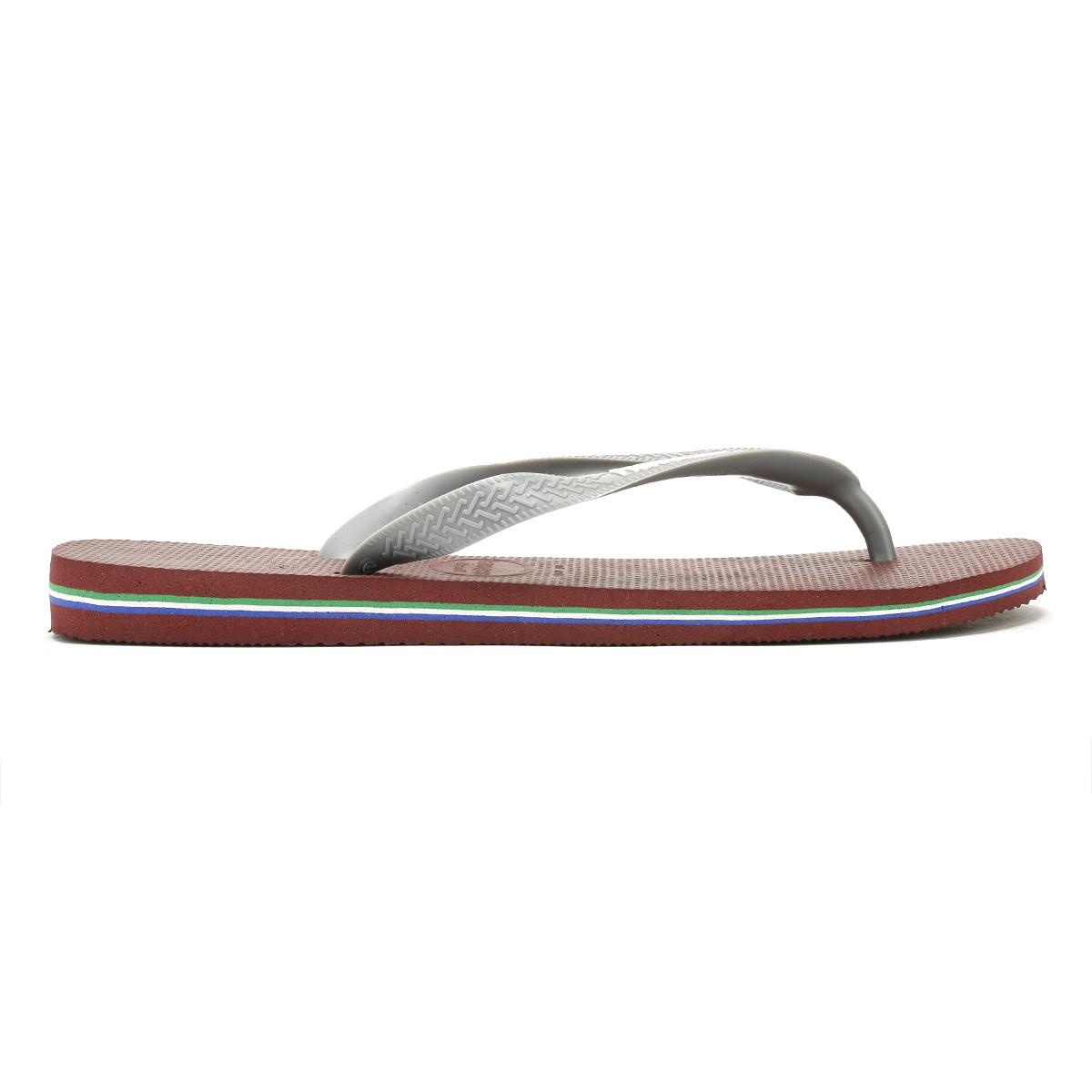 4d99498a4c91 Havaianas Mens Burgundy Brasil Logo Flip Flops Beach Summer Thong Shoes