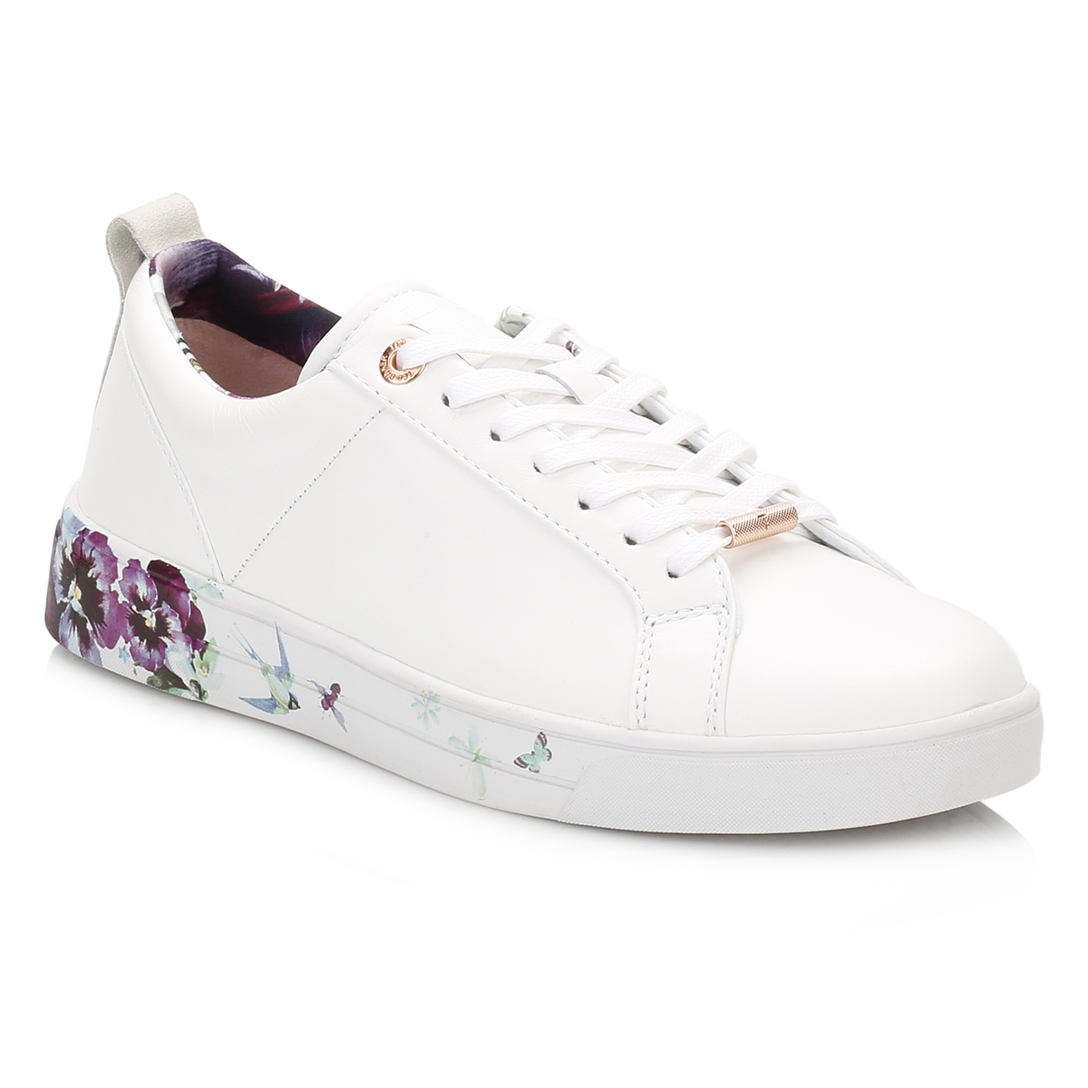 7a474f8f8 Ted Baker Womens White Barrica Trainers, Floral Sport Casual Leather ...