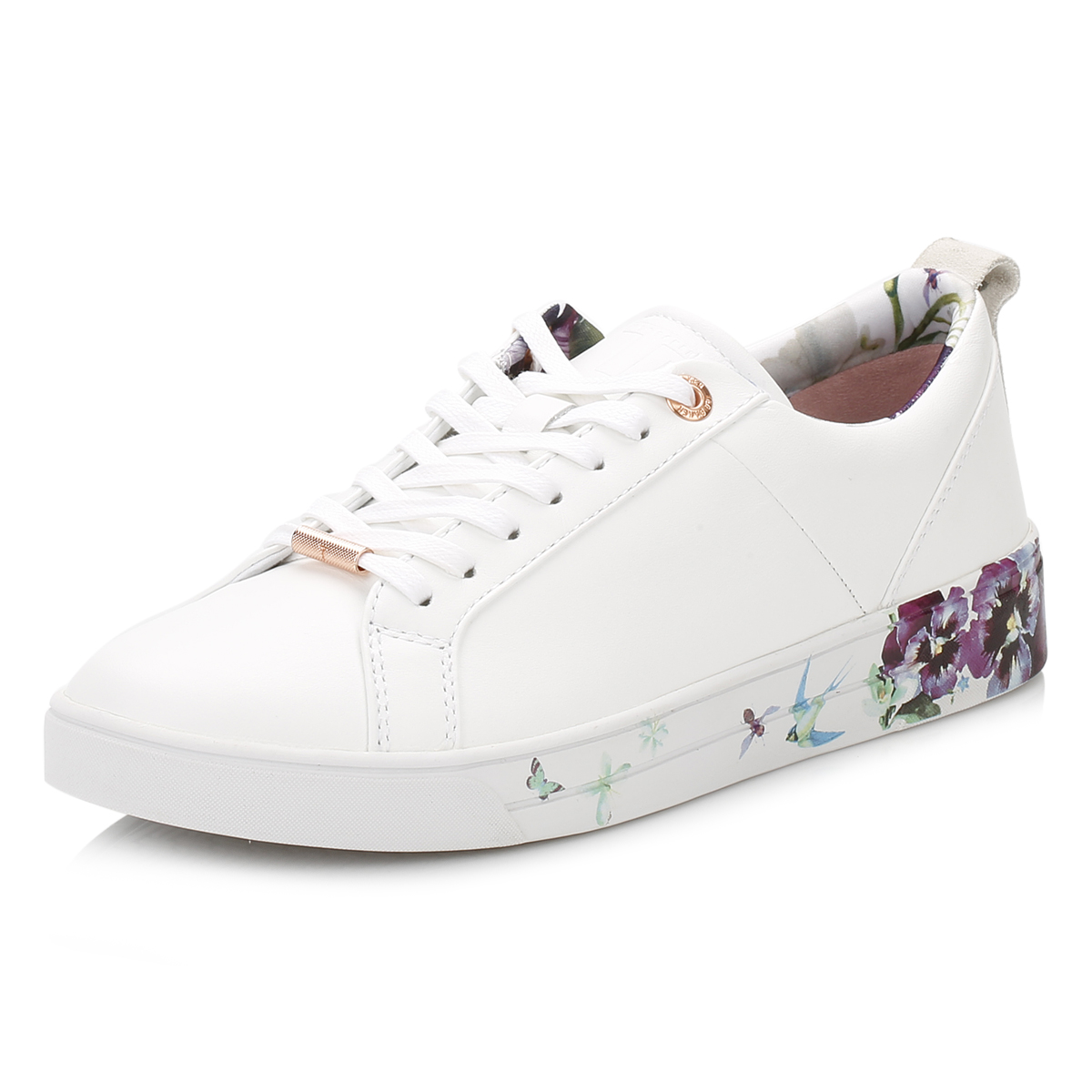 c283375a5 Ted Baker Womens White Barrica Trainers, Floral Sport Casual Leather Shoes