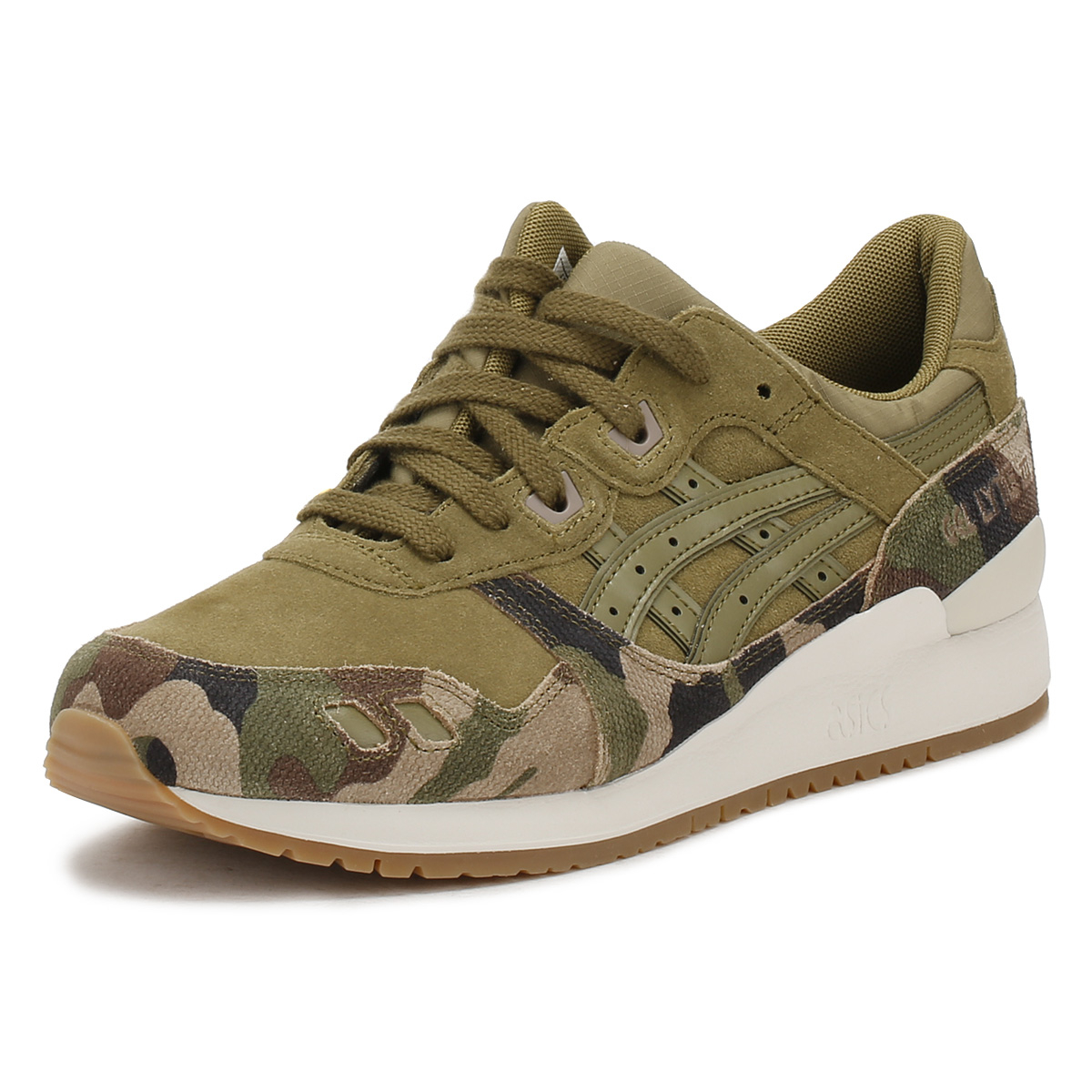 2e6bb8035e87b Details about ASICS Mens Martini Olive Green Camo Gel-Lyte III Trainers  Lace Up Suede Shoes