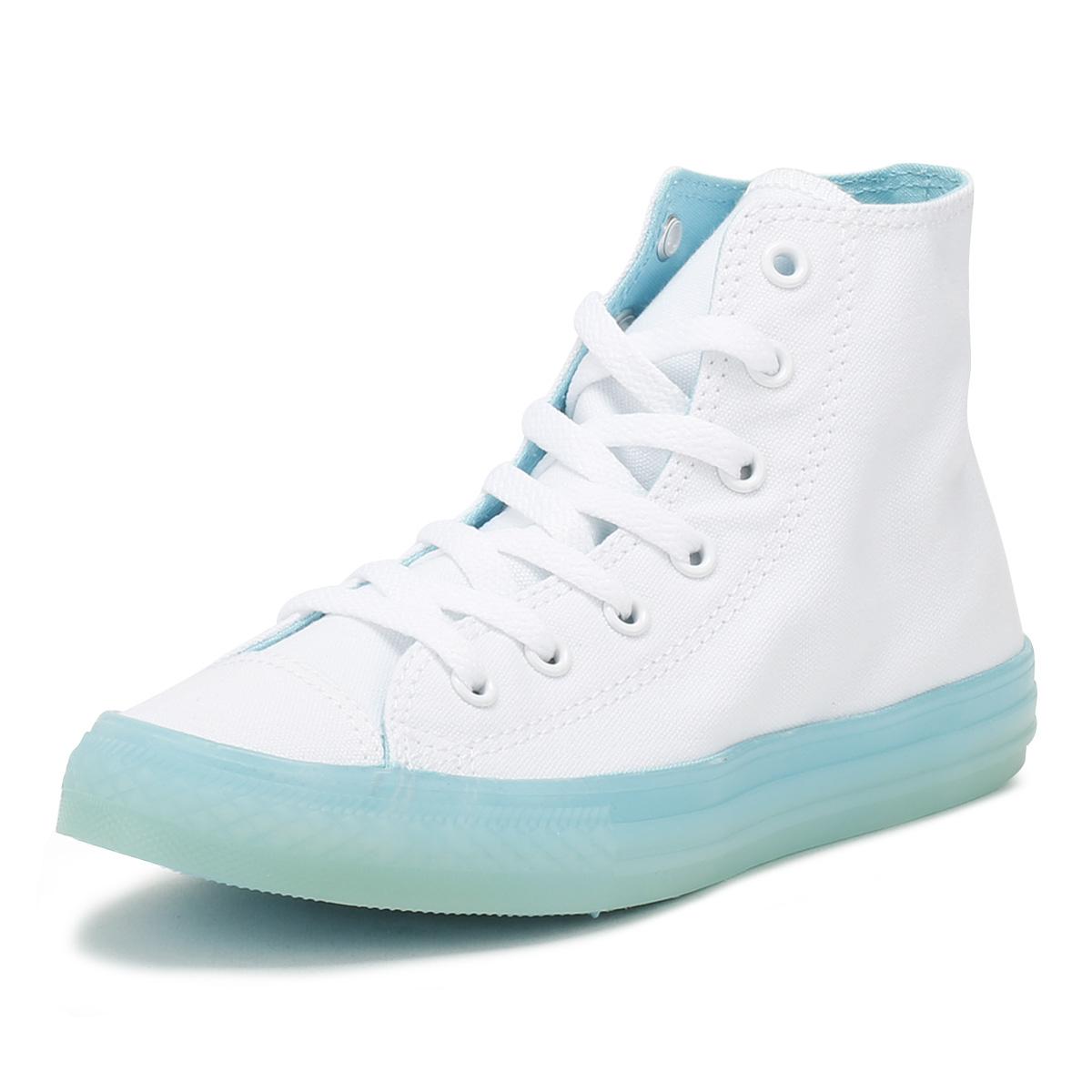 741e17af Details about Converse All Star Junior White & Aqua Hi Trainers Kids Lace  Up Ankle Shoes