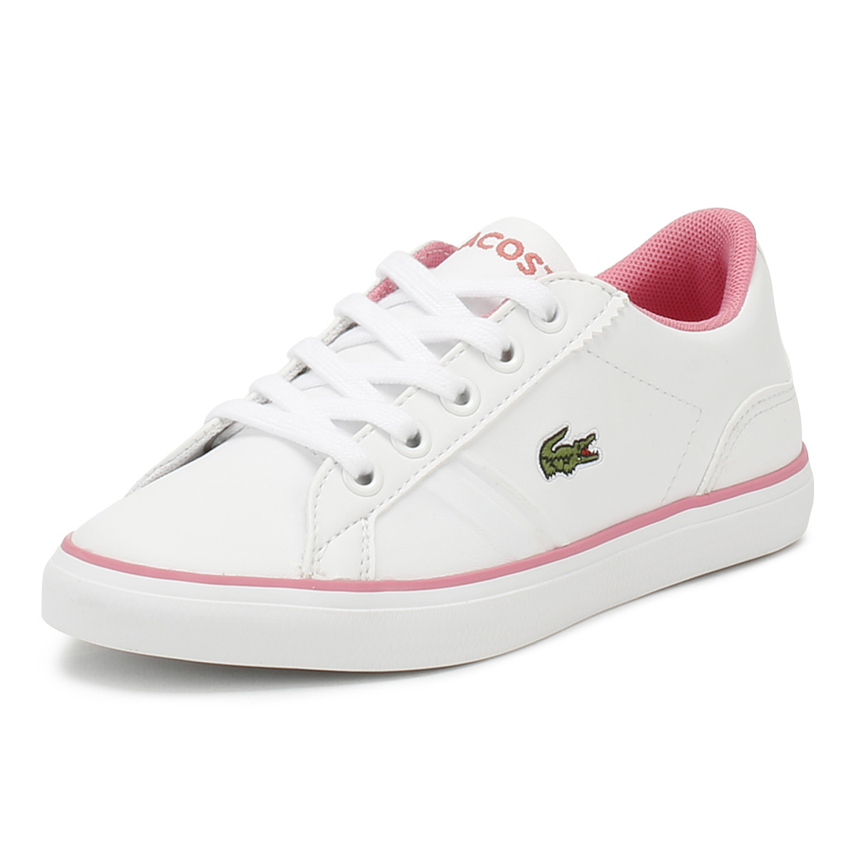 15c458b63e4023 Details about Lacoste Junior Trainers White   Pink Lerond 218 2 Kids Girls  Sport Casual Shoes