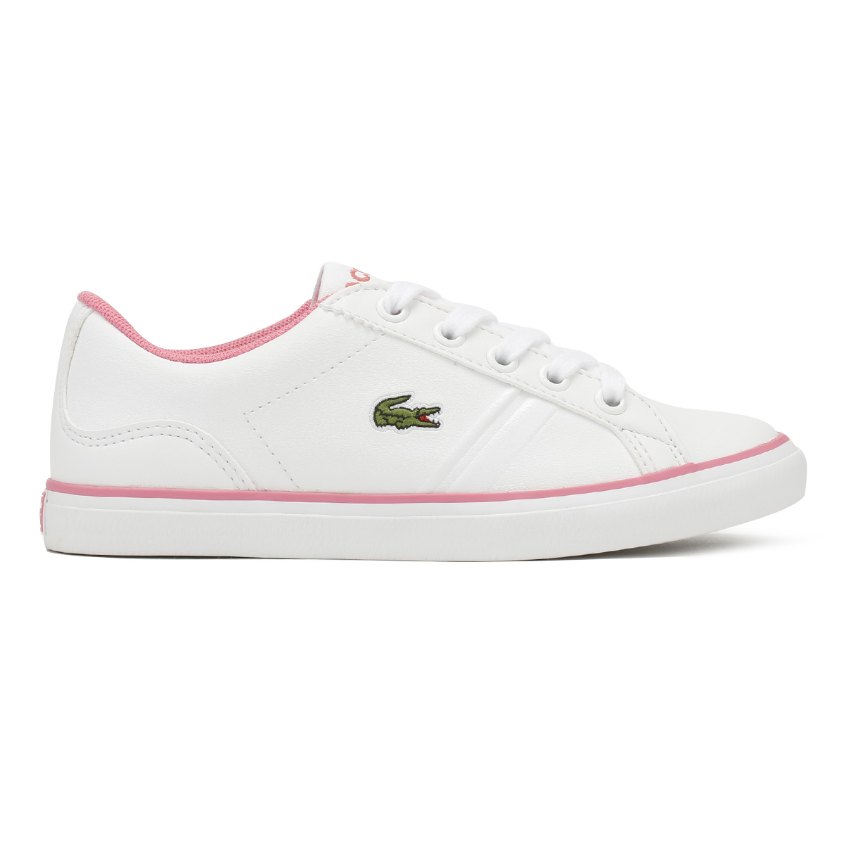 44c6eccf560566 Lacoste Junior Trainers White   Pink Lerond 218 2 Kids Girls Sport Casual  Shoes