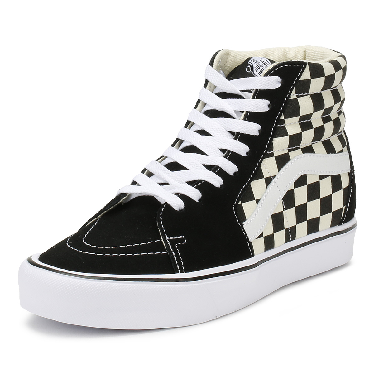 7697a78b2a Details about Vans Unisex Black   White Trainers Checkerboard SK8-Hi Lite Lace  Up Skate Shoes