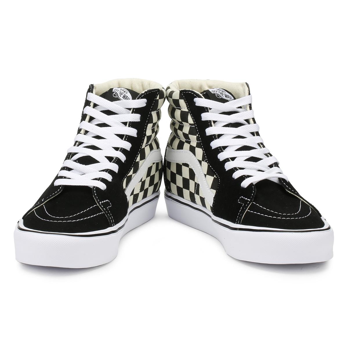 12f7d3b071af67 Vans Unisex Black   White Trainers Checkerboard SK8-Hi Lite Lace Up Skate  Shoes