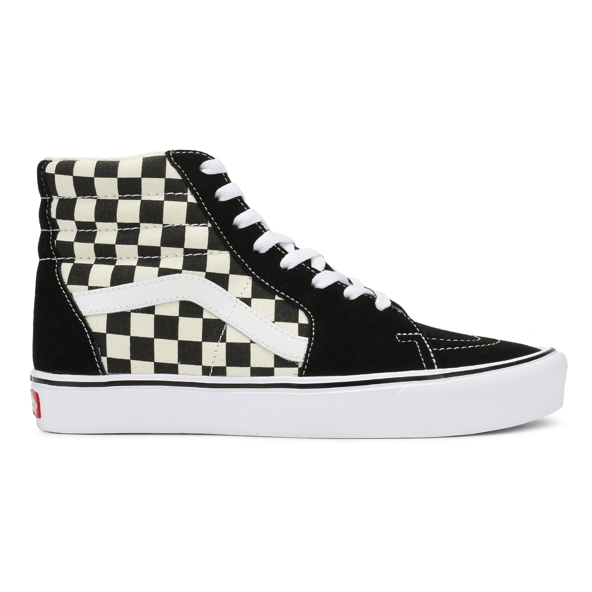 0f12bfb6d44a93 Vans Unisex Black   White Trainers Checkerboard SK8-Hi Lite Lace Up Skate  Shoes
