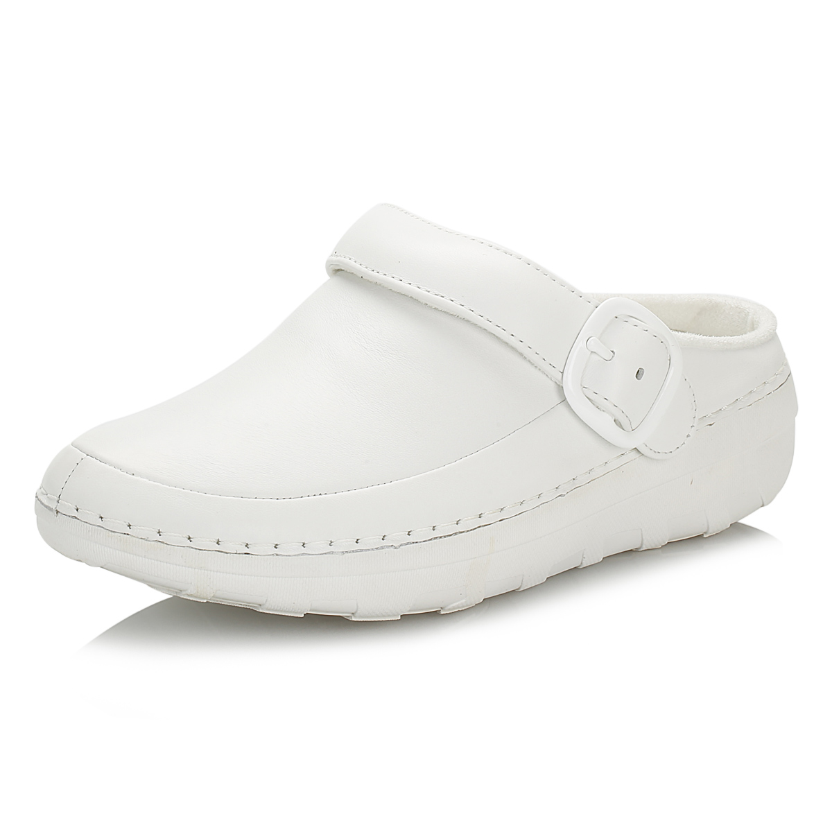 Fitflop-femme-urban-blanc-gogh-pro-superlight-sabots-cuir-boucle-chaussures