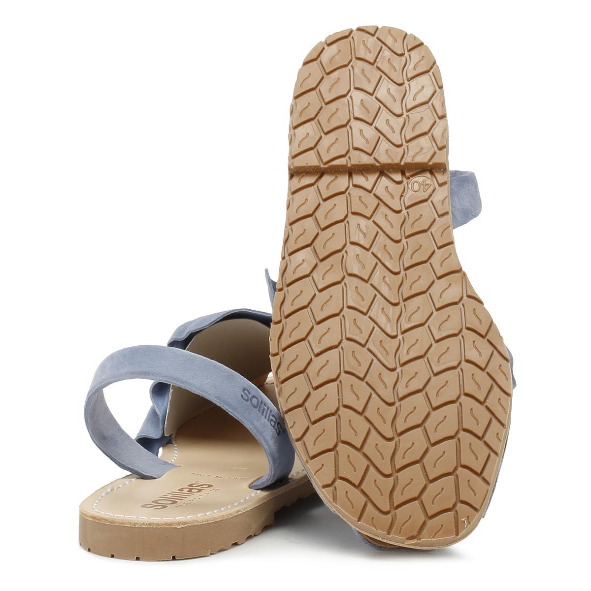 Solillas Sandalias De Mujer Azul Marino pisos de Verano Informal Zapatos De Gamuza Volant