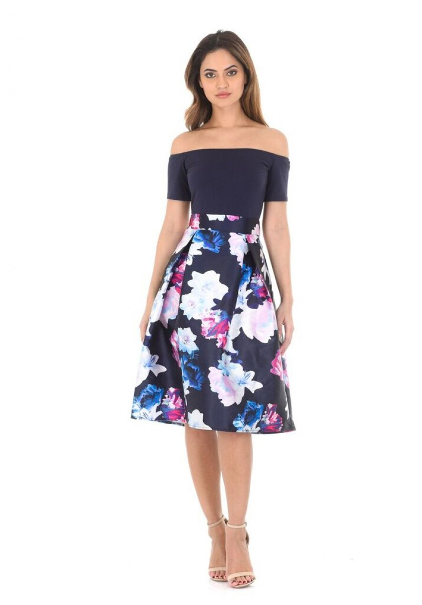 5db5ca2cdcd5 AX Paris Womens Navy Blue Bardot Midi Dress