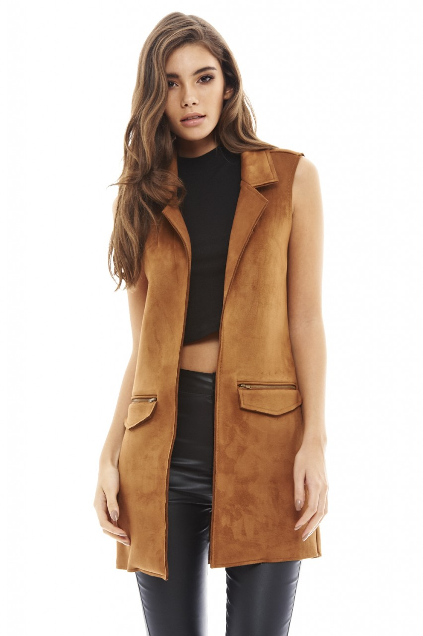 AX Paris Womens Sleeveless Faux Suede Jacket, Tailored Cut ...