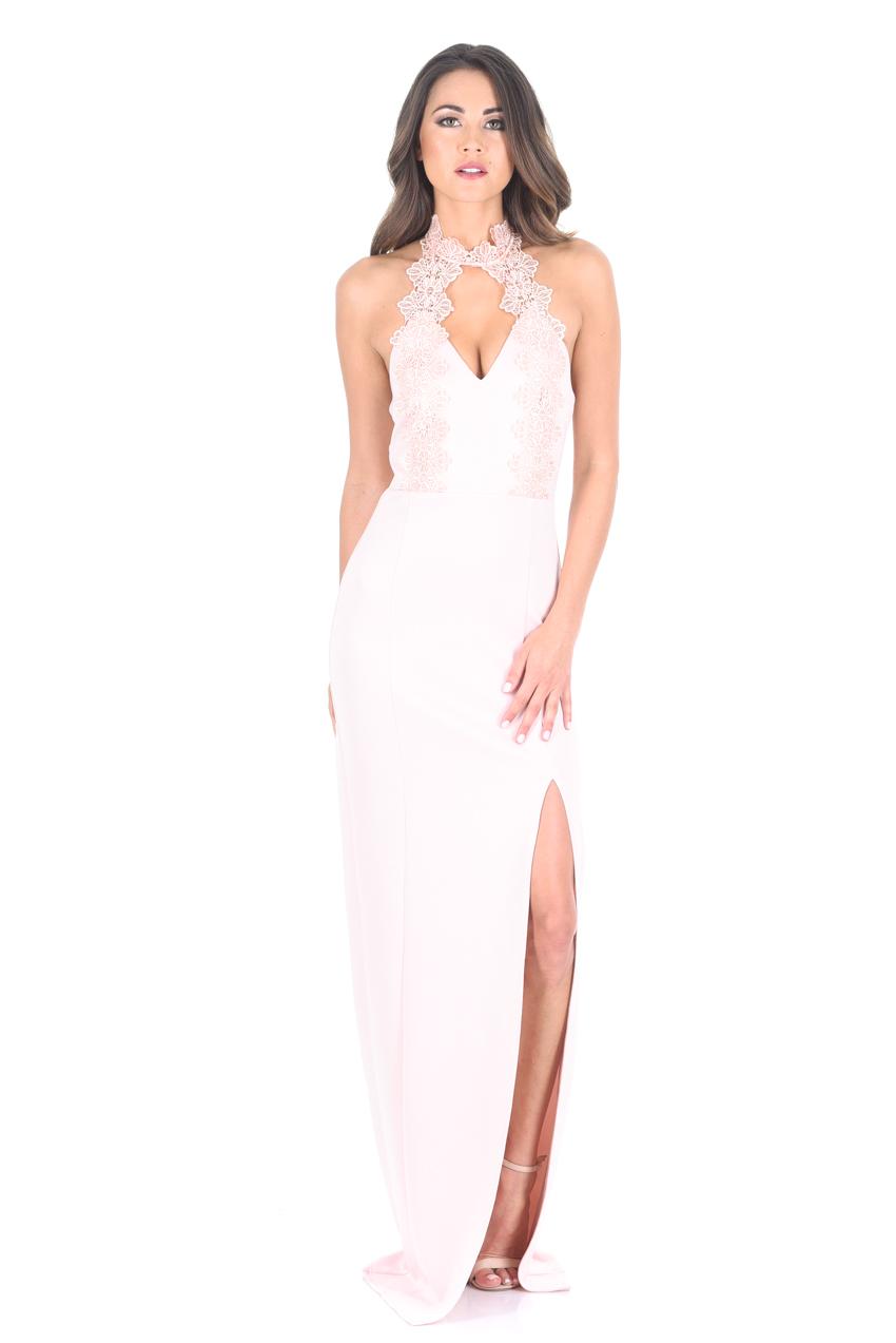 AX-Paris-Womens-Pink-Maxi-Dress-Crochet-Top- b05405b6f