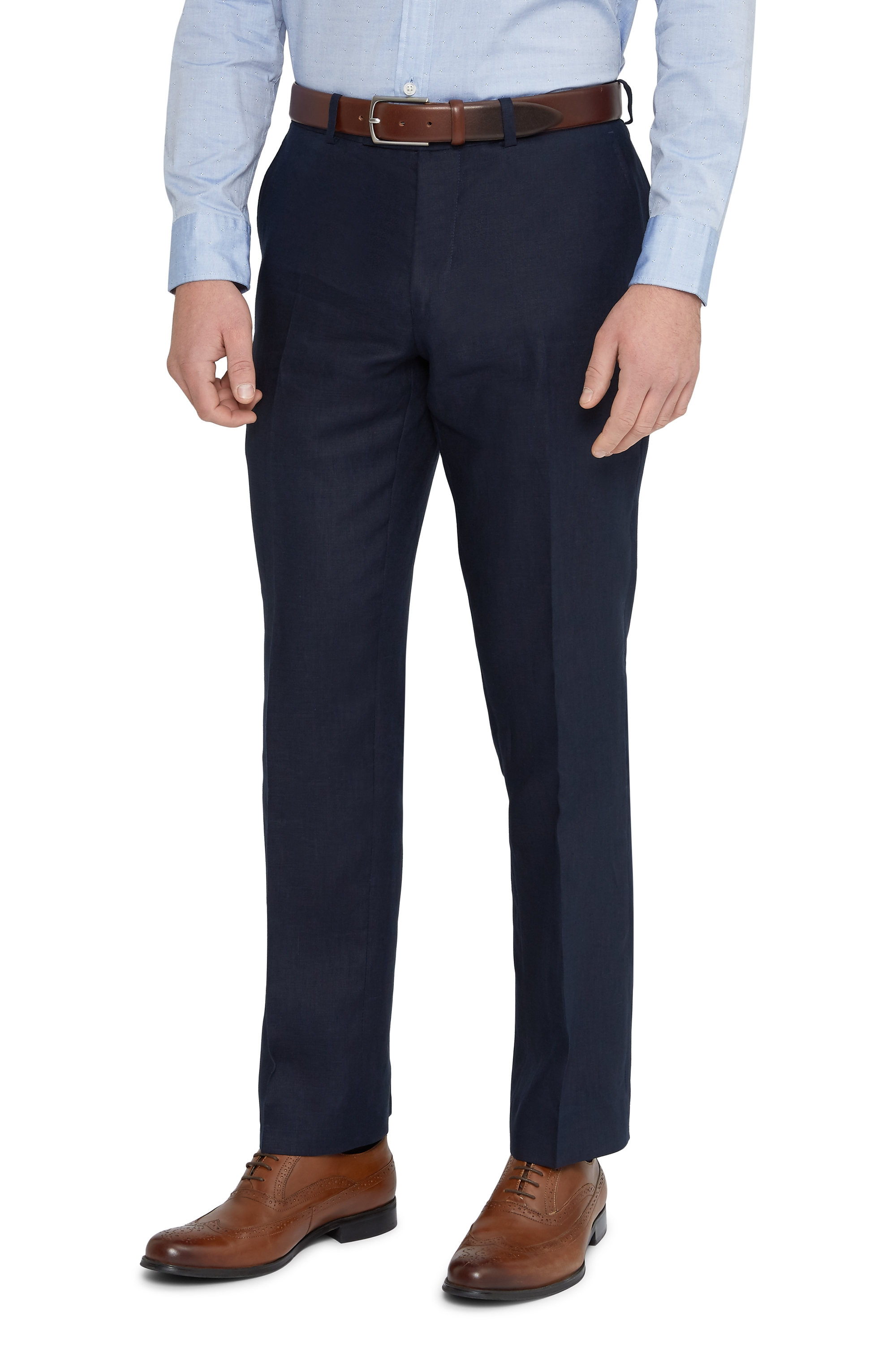 Moss 1851 Mens Navy Blue Suit Trousers Tailored Fit Linen