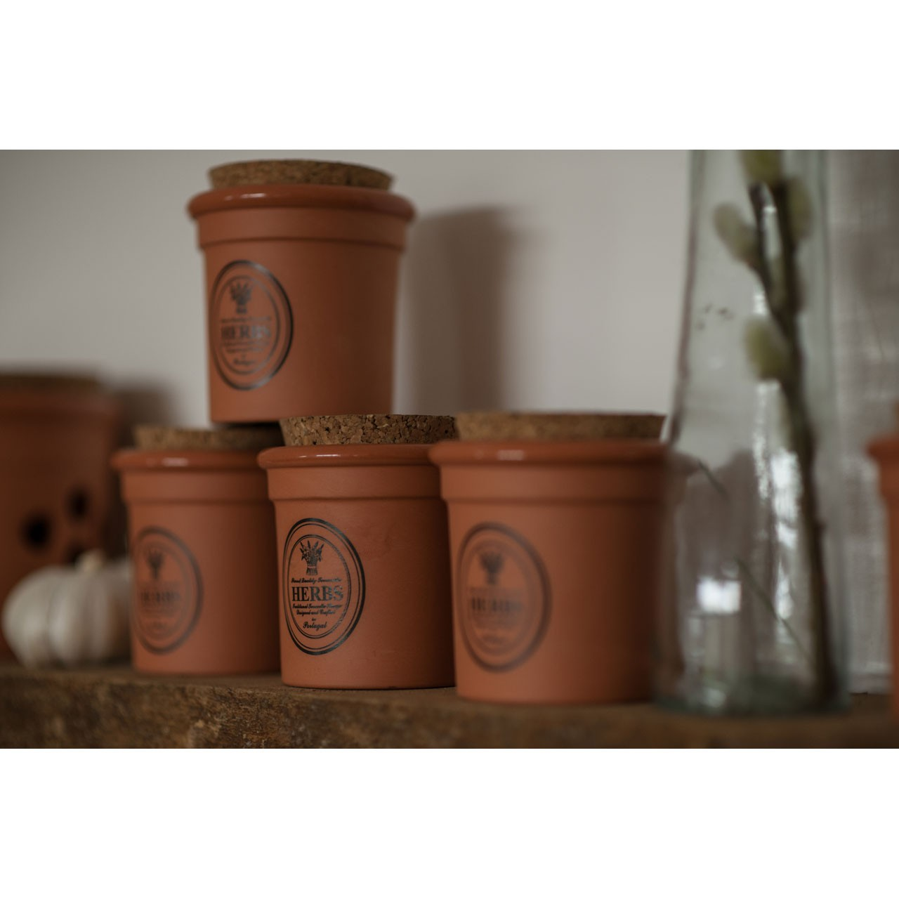 Premier Natural Terracotta Herb Canister Kitchen Storage Jar With Cork Lid