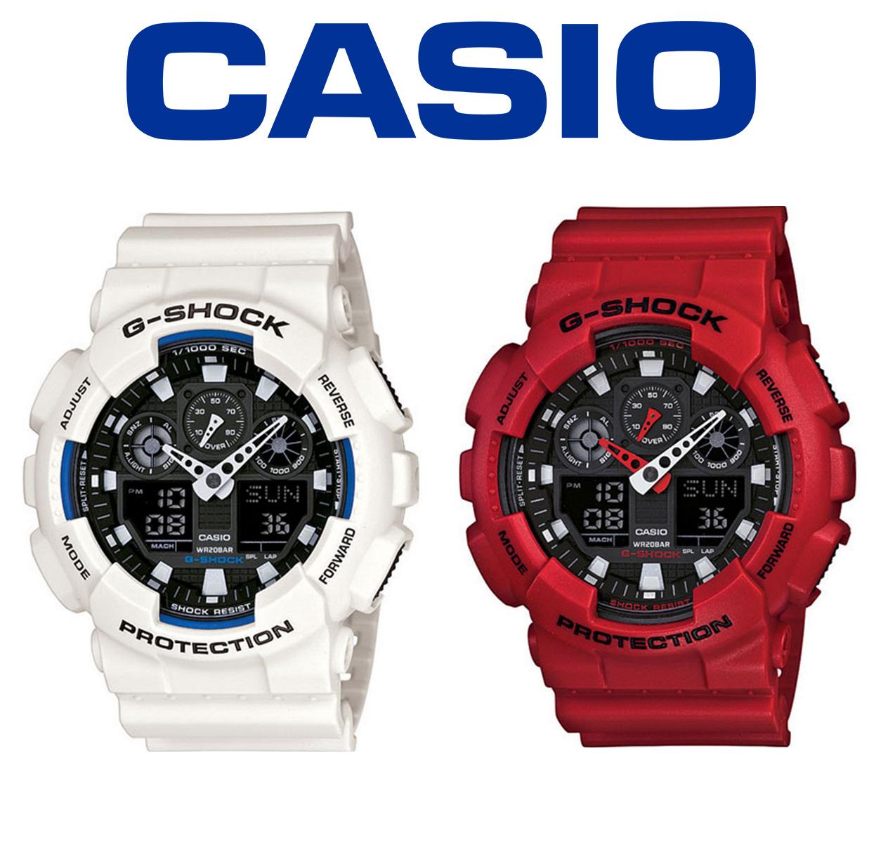 3d8cc458bb99 Casio G-Shock Mens Quartz Wrist Watch Red White Resin Band Analog ...