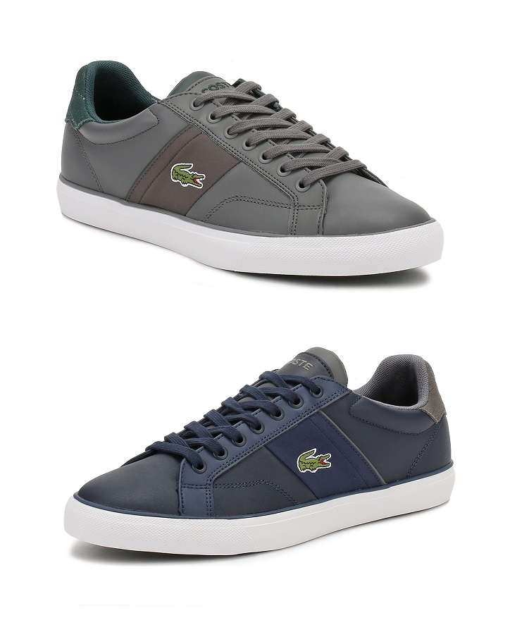 f5834044a Lacoste Mens Navy Blue or Grey Trainers Fairlead 317 2 Leather ...