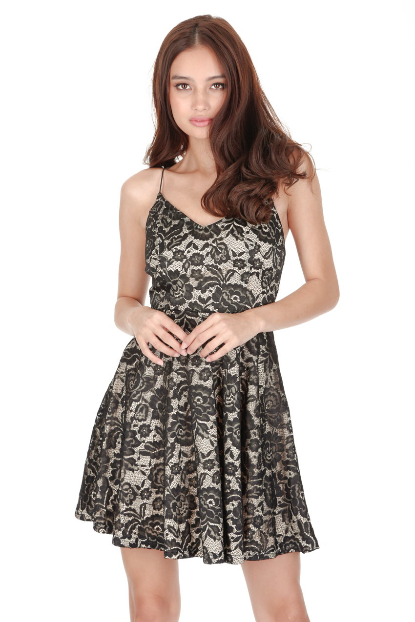 3e577a5150 AX Paris Womens Black and Nude Strappy Mini Skater Dress