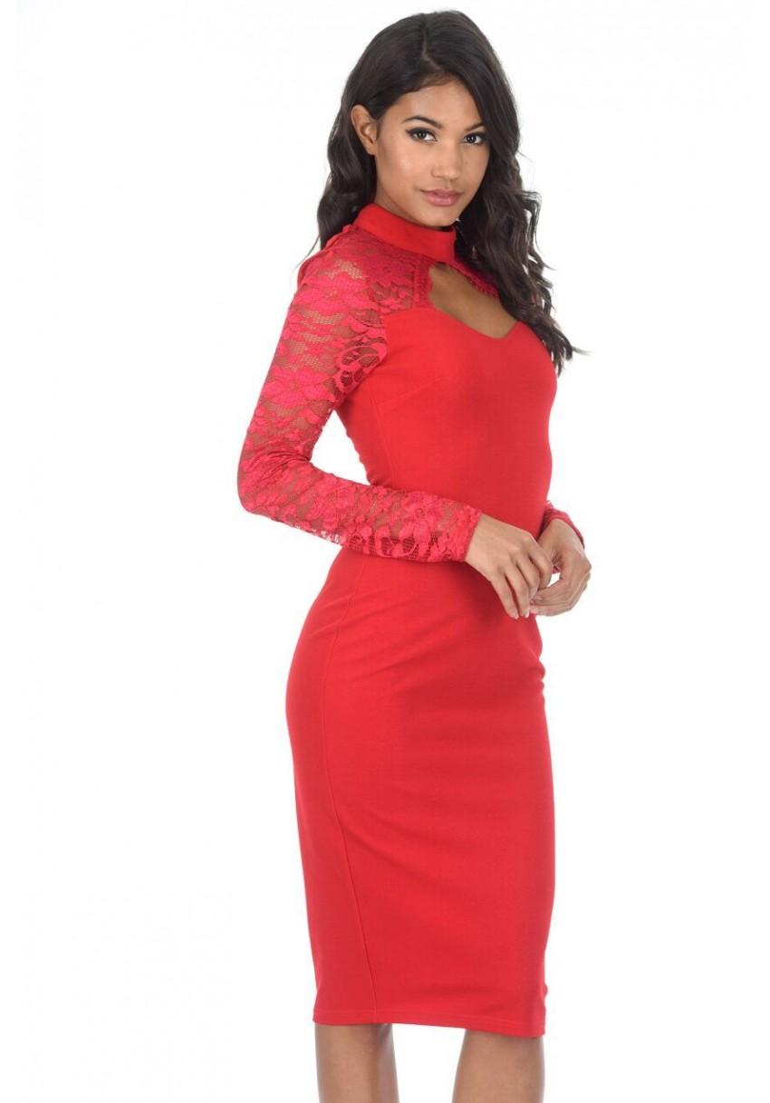 4a28285f07a13 AX Paris Womens Lace Bodycon Midi Dress, Cut Out High Neck,Long ...