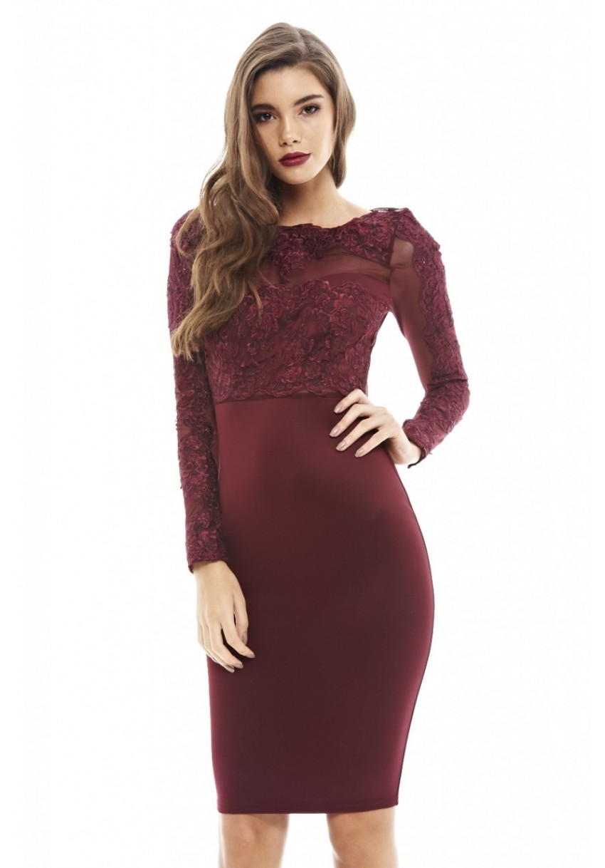 Details About Ax Paris Womens Wine Red Bodycon Midi Dress Burgundy Crochet Lace Long Sleeve
