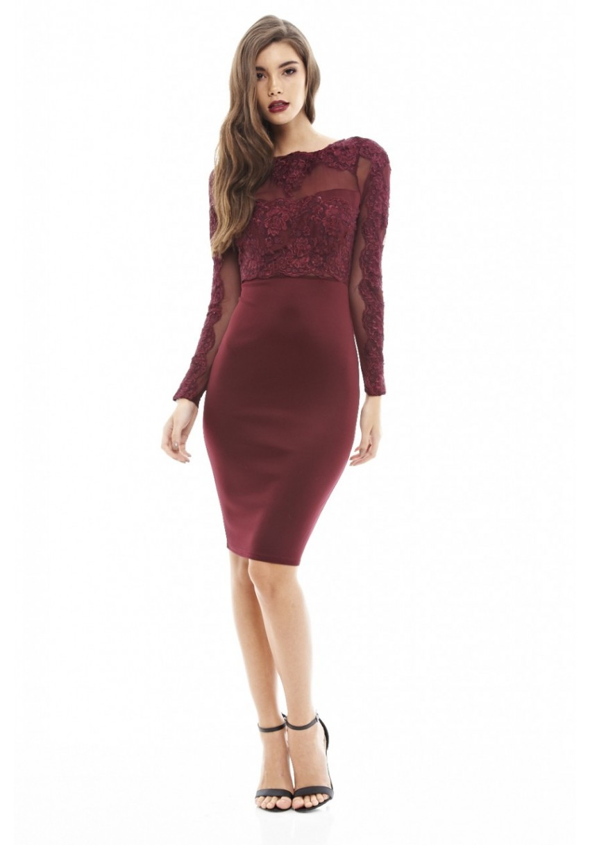 35e56628c7 AX Paris Womens Wine Red Bodycon Midi Dress